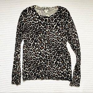 J. Crew factory Teddie leopard sweater medium